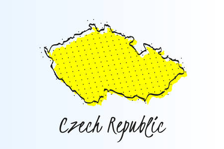 Map of Czech Republic, halftone abstract background. The black dots on a yellow background. drawn border line. vector illustration Ilustrace