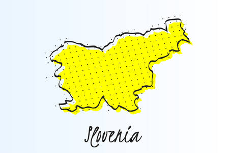 Map of Slovenia, halftone abstract background. The black dots on a yellow background. drawn border line. vector illustration