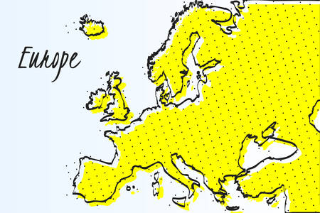 Map of Europe, halftone abstract background. The black dots on a yellow background. drawn border line. vector illustration Фото со стока - 100991804