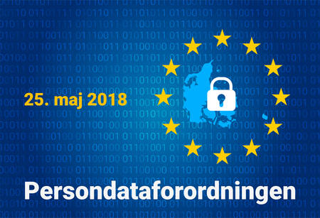 Danish text, english translation - GDPR - General Data Protection Regulation. Vector illustration