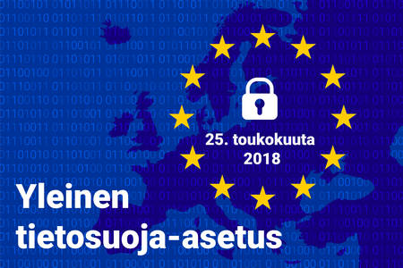 Finnish text, english translation - GDPR - General Data Protection Regulation. Vector illustration Фото со стока - 100991805