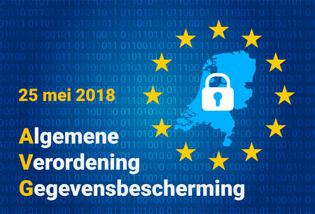 AVG dutch text, english translation - GDPR - General Data Protection Regulation. Vector