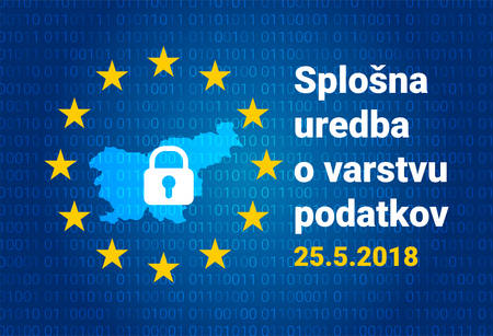 Slovenian text, english translation - GDPR - General Data Protection Regulation Stockfoto - 101996378