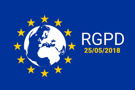 RGPD is GDPR: general data protection relation in French, Italian, Spanish. Vector