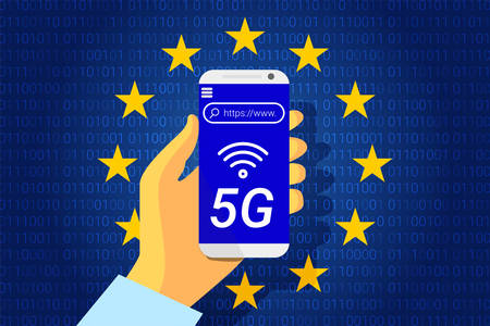 5G next generation wireless internet connection. Flag of the European Union Ilustrace