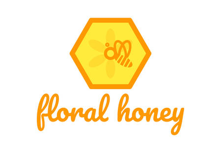 Picture for honey products, store, festival, farm. Yellow honeycomb Ilustrace