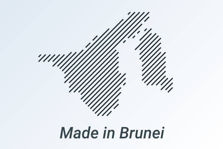 Made in Brunei, striped map in a black strip on a silver background Ilustrace