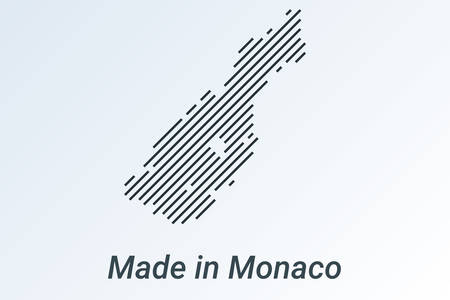 Made in Monaco, striped map in a black strip on a silver background Stockfoto - 127686576
