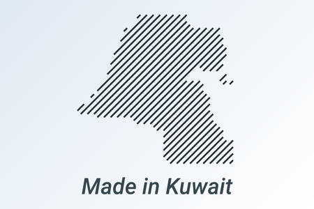 Made in Kuwait, striped map in a black strip on a silver background Ilustrace