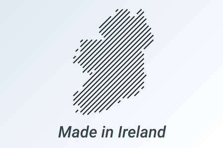 Made in Ireland, striped map in a black strip on a silver background Ilustrace