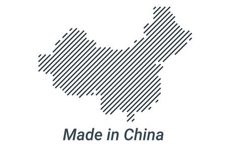 Made in China, striped map in a black strip on a silver background Фото со стока - 133670255