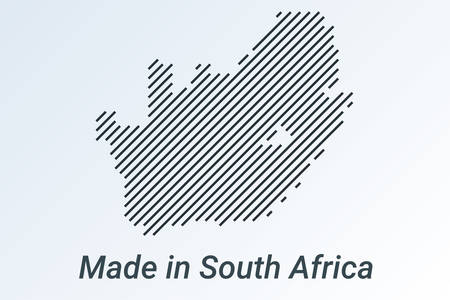 Made in South Africa, striped map in a black strip on a silver background Ilustrace
