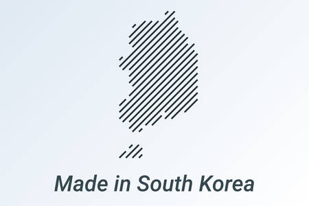 Made in South Korea, striped map in a black strip on a silver background