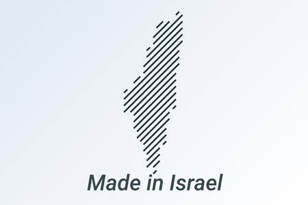 Made in Israel, striped map in a black strip on a silver background Фото со стока - 133670280