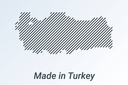 Made in Turkey, striped map in a black strip on a silver background