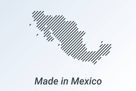 Made in Mexico, striped map in a black strip on a silver background. vector illustration Ilustrace