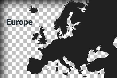 Mappa dell'Europa, mappa nera su sfondo trasparente. simulazione della trasparenza del canale alfa in png. illustrazione vettoriale Vettoriali