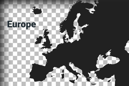 Map of Europe, black map on a transparent background. alpha channel transparency simulation in png. vector illustration