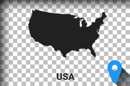 Map of United States, black map on a transparent background. alpha channel transparency simulation in png. vector illustration