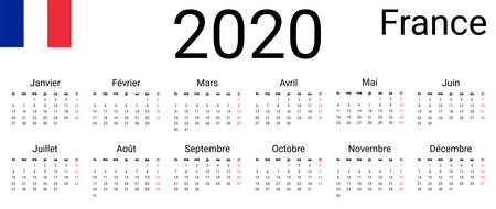 French 2020 calendar. Vector design template start from monday. All months for wall calendar