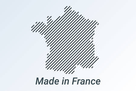 Made in France, striped map in a black strip on a silver background. vector illustration Ilustrace