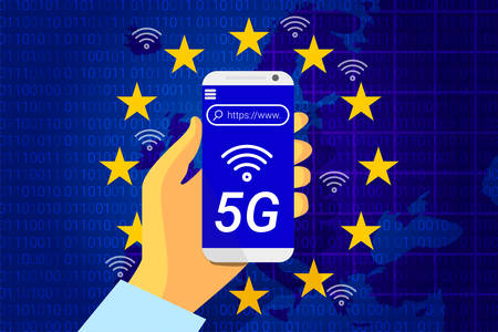 5G next generation wireless internet connection. Flag of the European Union on background of a Europe map. mobile phone in hand. vector illustration Ilustrace