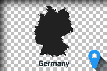 Map of Germany, black map on a transparent background. alpha channel transparency simulation in png. vector illustration Ilustrace