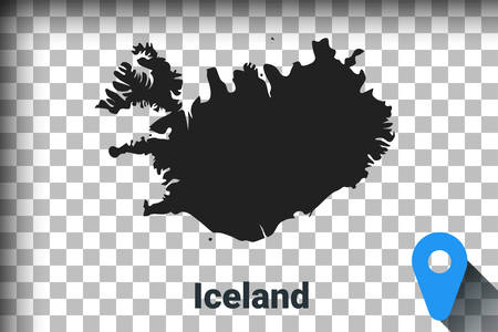 Map of Iceland, black map on a transparent background. alpha channel transparency simulation in png. vector illustration