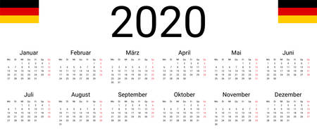 Germany 2020 calendar. Vector design template start from monday. Full months for wall calendar