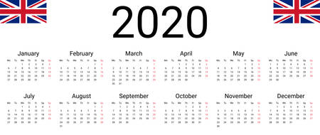 UK 2020 calendar. English Vector design template start from monday. Full months for wall calendar