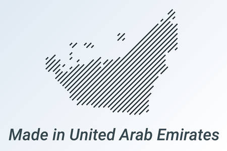 Made in United Arab Emirates, striped map in a black strip on a silver background. vector illustration
