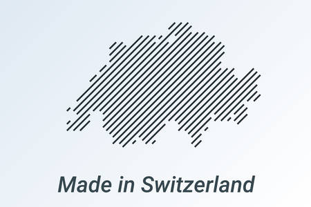 Made in Switzerland, striped map in a black strip on a silver background. vector illustration