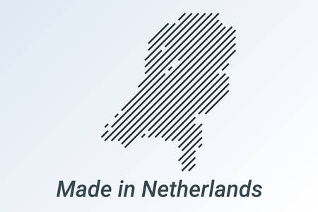 Made in Netherlands, striped map in a black strip on a silver background. vector illustration