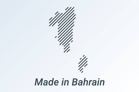 Made in Bahrain, striped map in a black strip on a silver background. vector illustration