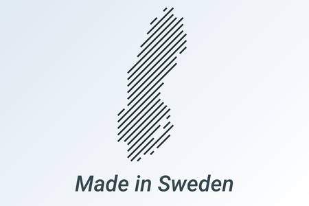 Made in Sweden, striped map in a black strip on a silver background. vector illustration