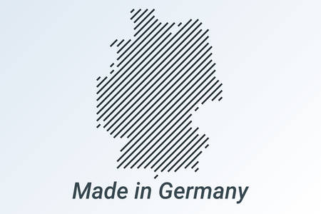 Made in Germany, striped map in a black strip on a silver background. vector illustration Ilustrace