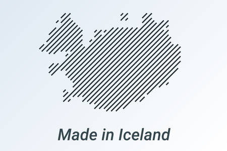 Made in Iceland, striped map in a black strip on a silver background. vector illustration