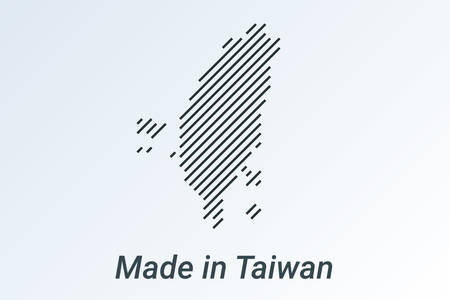 Made in Taiwan, striped map in a black strip on a silver background. vector illustration Ilustrace