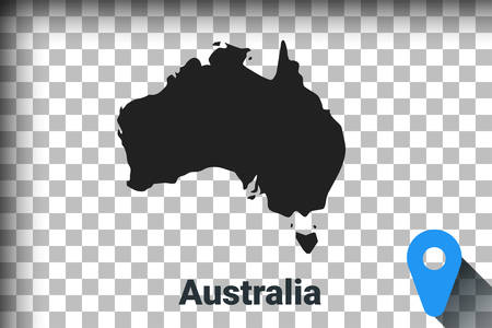 Map of Australia, black map on a transparent background. alpha channel transparency simulation in png. vector illustration