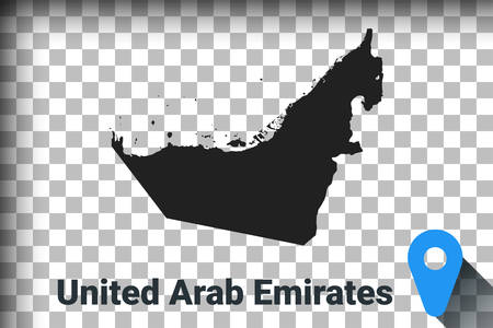 Map of United Arab Emirates, black map on a transparent background. alpha channel transparency simulation in png. vector illustration Ilustrace