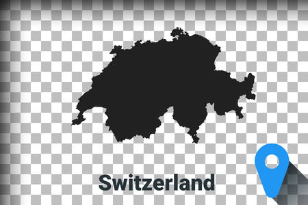 Map of Switzerland, black map on a transparent background. alpha channel transparency simulation in png. vector illustration