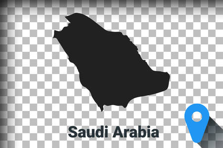 Map of Saudi Arabia, black map on a transparent background. alpha channel transparency simulation in png. vector illustration Ilustrace