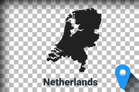 Map of Netherlands, black map on a transparent background. alpha channel transparency simulation in png. vector illustration Ilustrace