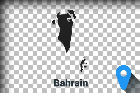 Map of Bahrain, black map on a transparent background. alpha channel transparency simulation in png. vector illustration