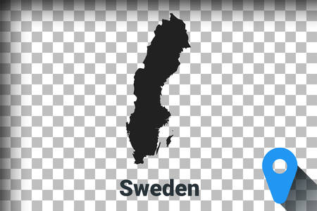 Map of Sweden, black map on a transparent background. alpha channel transparency simulation in png. vector illustration