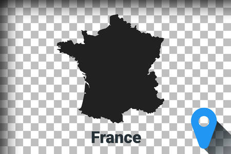 Map of France, black map on a transparent background. alpha channel transparency simulation in png. vector illustration