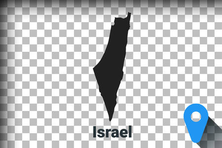 Map of Israel, black map on a transparent background. alpha channel transparency simulation in png. vector illustration