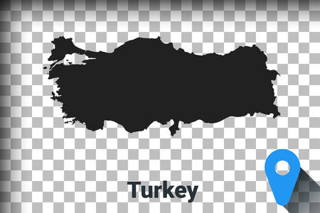 Map of Turkey, black map on a transparent background. alpha channel transparency simulation in png. vector illustration
