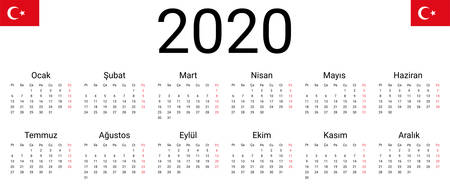 Turkish 2020 calendar. Vector design template start from monday. Full months for wall calendar