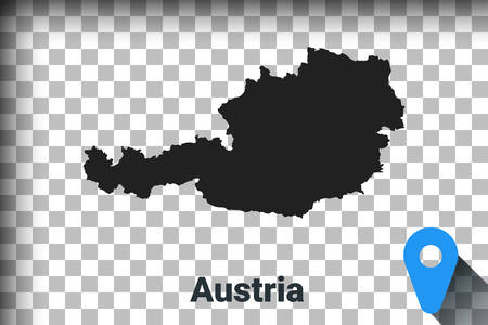 Map of Austria, black map on a transparent background. alpha channel transparency simulation in png. vector illustration